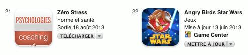Application Zerostress classement app store