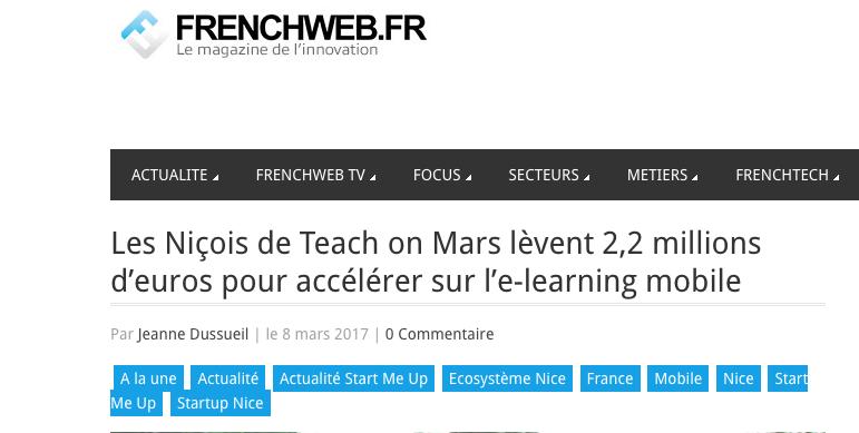 Article Frenchweb.fr. Teach on Mars lève des fonds : 2,2 millions d'euros pour accélérer sur le e-learning mobile