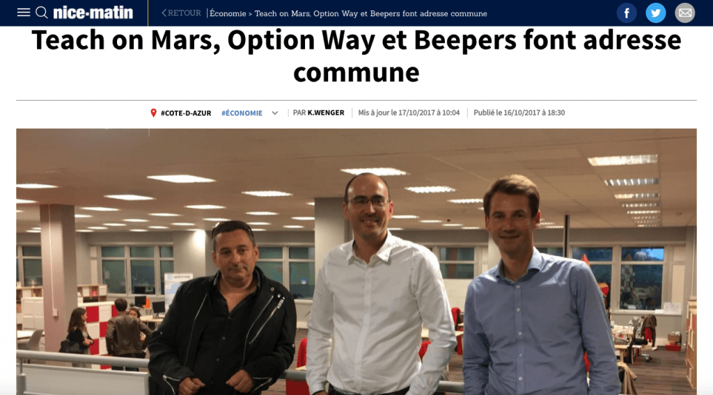 Nice Matin : Web time medias : BornToFly : Teach on Mars, Beepeers and Option Way inauguate new premices