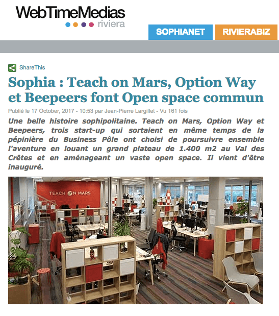 Web time medias : BornToFly : Teach on Mars, Beepeers and Option Way inauguate new premices