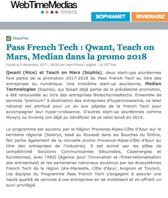 Article WebTimeMedias Pass French Tech