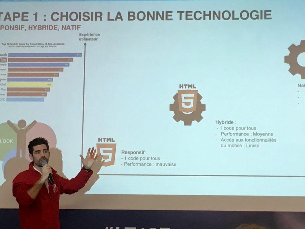 Sebastien Lasarte lors de sa conférence au Learning technologies France 2018.