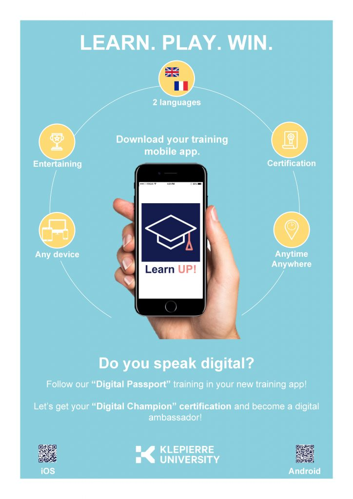 Learn UP! application,the Klépierre Group's mobile learning app for training - official communications poster