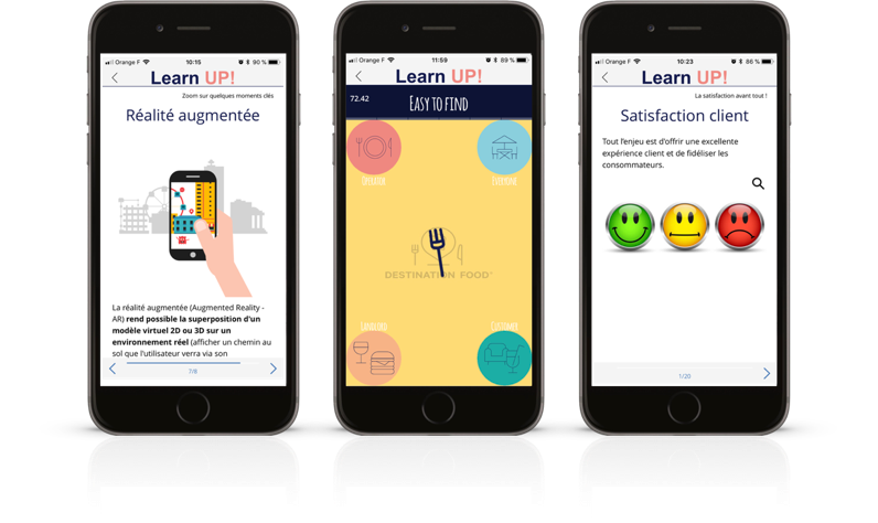 Learn UP! application - Klépierre Group's mobile learning app for training. Powered by Teach on Mars