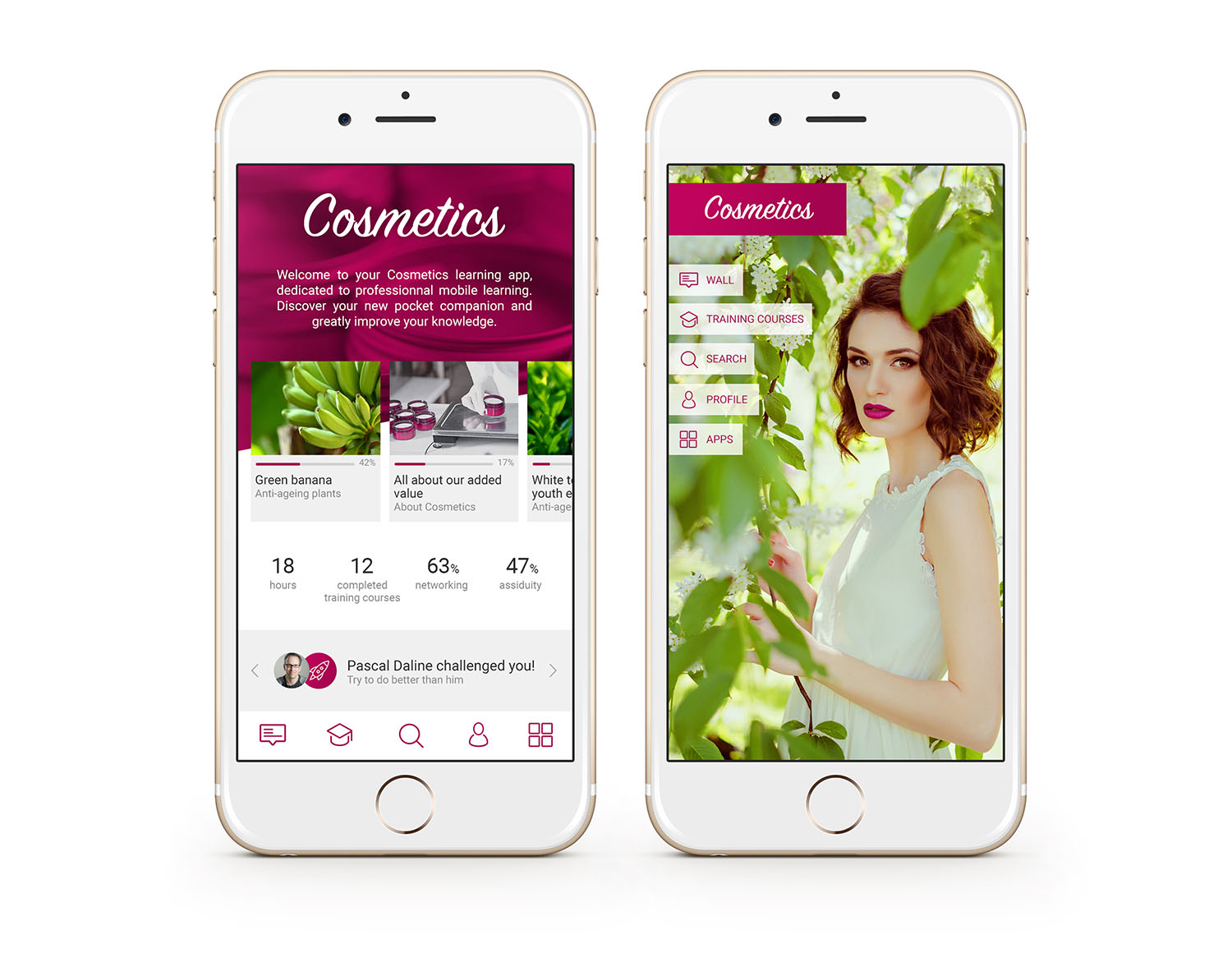 Application mobile cosmetics custom homepage