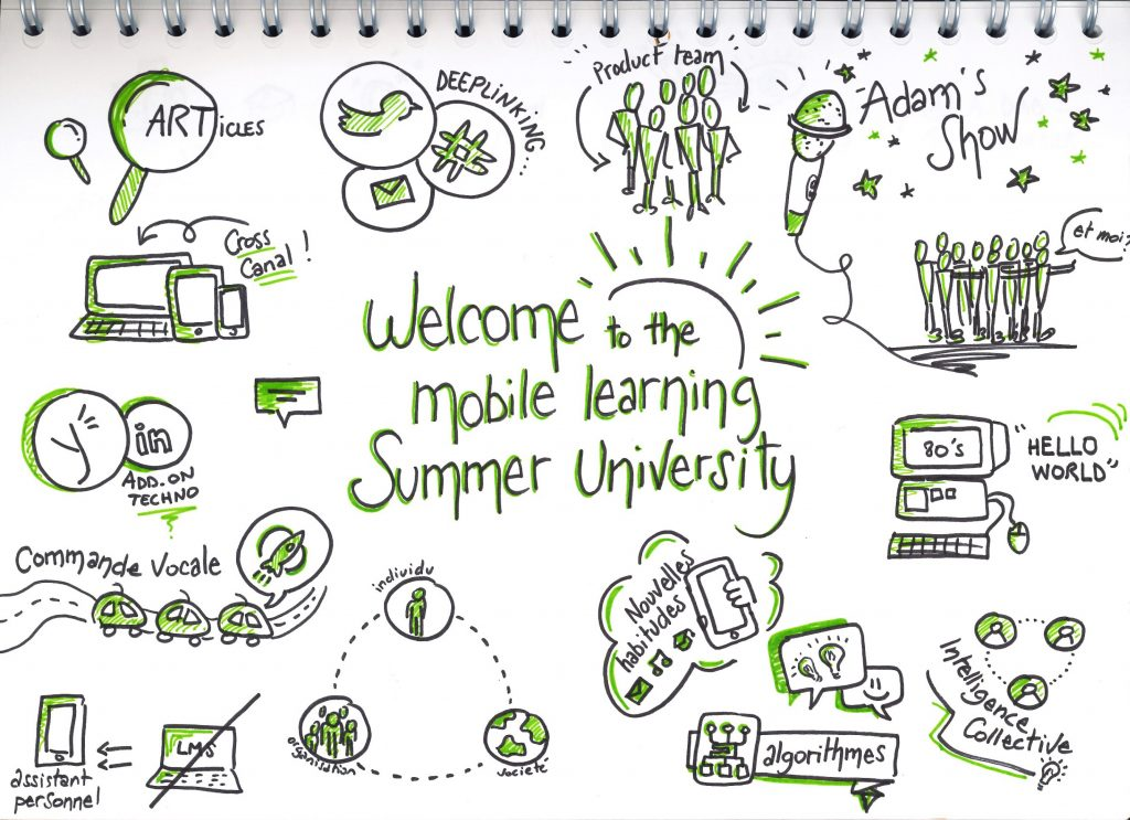 "Sketchote de la conférence Welcome to the Mobile Learning Summer University"" de Vincent Desnot"
