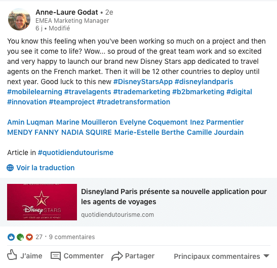 post linkedin disney stars de anne laure godat