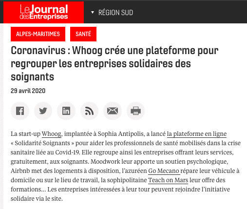 article le journal des entreprises initiative whoog