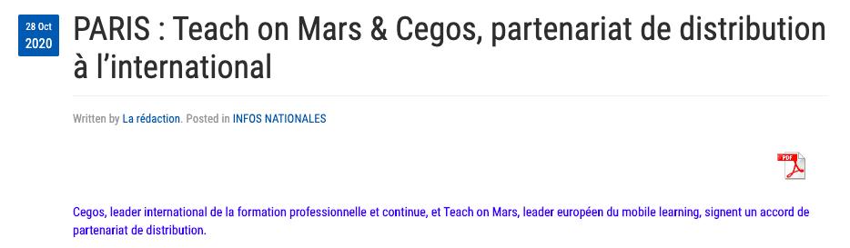 partenariat teach on mars et cegos presse agence