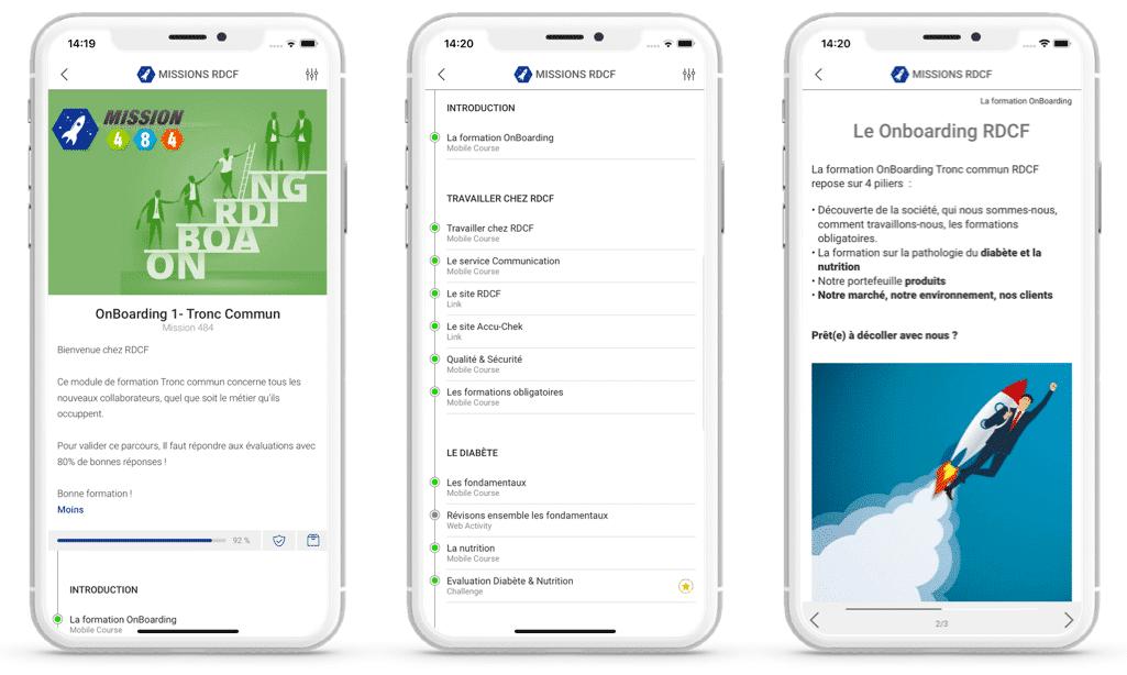 application mobile learning onboarding roche diabetes france