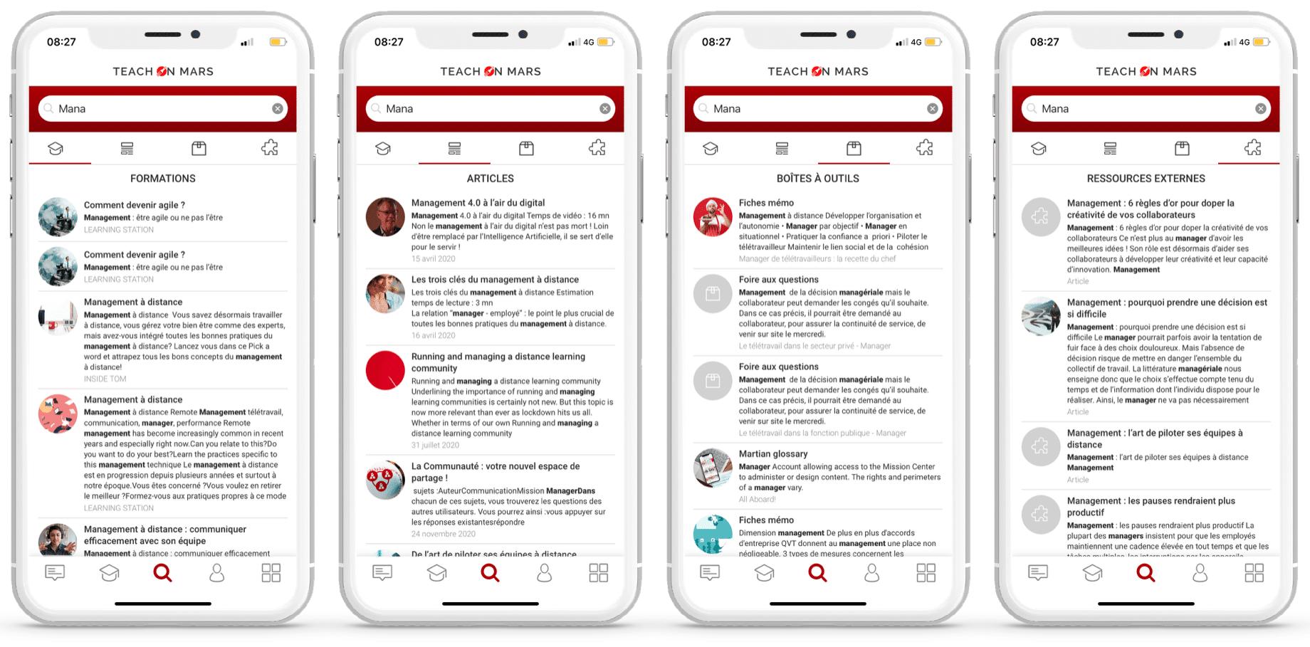 moteur de recherche app teach on mars